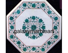 White marble inlay art table top WP-18101