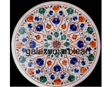 White marble inlay coffee table top WP-18139