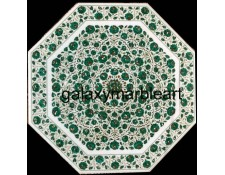 "malachite stone inlaid marble dining table top 48"" WP-4802"
