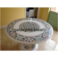 """handmade stones inlay dining table top with base 48"""" WP-4803"""