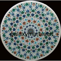 """marble inlay dining table top with multi-color combination 48"""" WP-4804"""