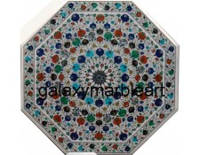 "multi-color geometrical design marble inlay dining table top 48"" WP-4806"