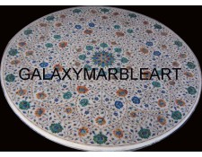 "Multi-colored stones inlaid marble table top 52"" WP-5201"
