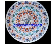 """White marble round inlay work table top 36"""" WP-36138"""