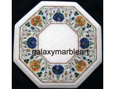 """Decorative stones inlaid white marble table top 12"""" WP-1201"""