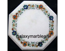 "stones inlaid white marble table top with simple border design 12"" WP-1202"