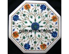 "marble inlay table top with geometrial design in multi-color combination 12"" WP-1203"