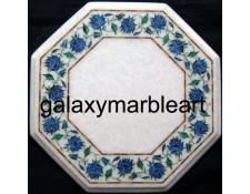 "Stones inlay work marble table top with Lapislazuli border design 12"" WP-1204"