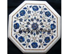 "Parchinkari inlay work table top with semi-precious stones geometrical design 12"" WP-1205"