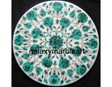 """Marble inlay side table top with geometrical design in Malachite stone 12"""" WP-1207"""