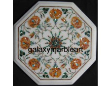 "Marble inlay side table top with Cornelian stone from Galaxy Marble Art 12"" WP-1210"