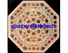 "Multi-color gemstones inlay work table top 32"" WP-3253"