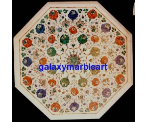 "marble inlay taj mahal work table top 26"" WP-2655"