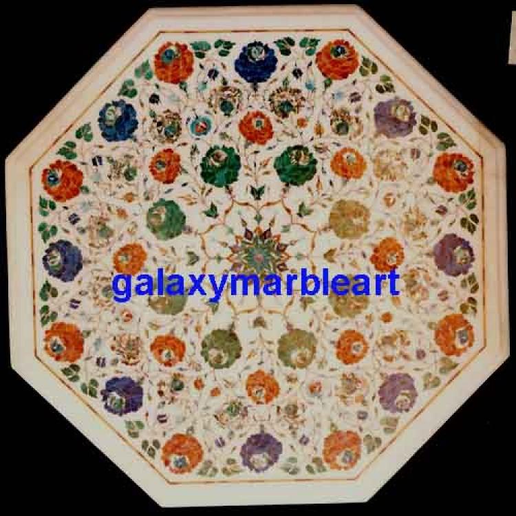 Marble Inlay Taj Mahal Work Table Top Agra India