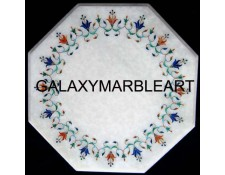 marble inlay coffee table top having semi-precious stones inlay work with border design  WP-1501