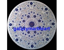 """A round inlay work table top with mainly lapislazuli and Shell 40"""" WP-4001"""
