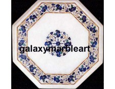 Perfect white marble inlay table top with Lapislazuli - WP-14102