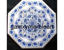 Pretty marble inlay table top having a unique design in Lapislazuli stone WP-14207