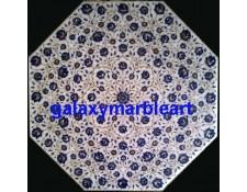 "Marble inlay table top with Lapislazuli symmetrical design  33"" WP-3301"